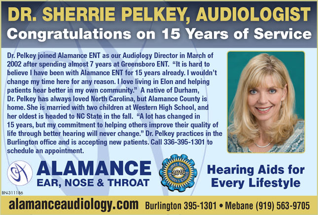 Dr. Sherrie Pelkey - 15 Years of Service